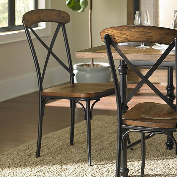 2 Millwood Transitional Brown Wood Metal Side Chairs HE-5099S