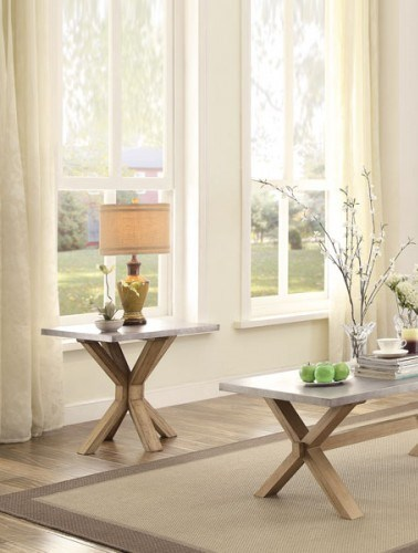 Luella Contemporary Weathered Oak Wood Zinc End Table HE-5100-04