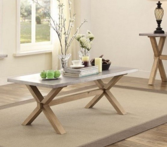 Luella Contemporary Weathered Oak Wood Zinc Cocktail Table HE-5100-30