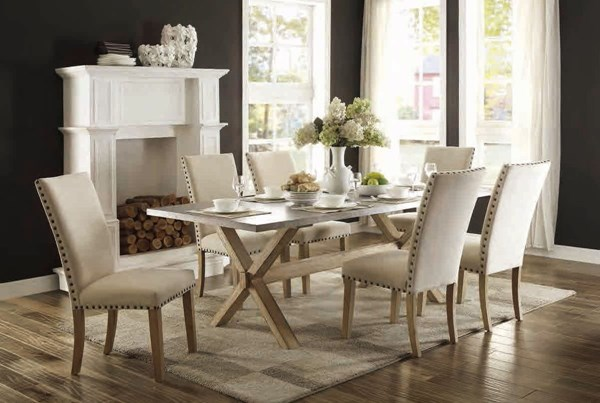 Luella Casual Weathered Oak Wood Fabric 5pc Dining Room Set HE-5100-DR-S1
