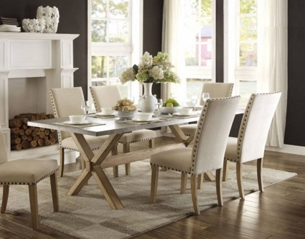 Luella Casual Weathered Oak Wood Dining Table HE-5100-84