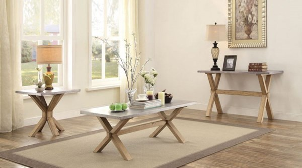 Luella Contemporary Weathered Oak Wood Zinc 3pc Coffee Table Set HE-5100-OCT-S1