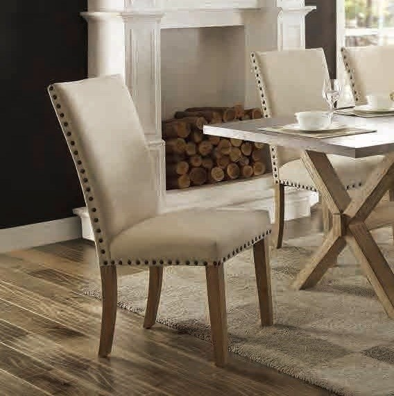 2 Luella Casual Weathered Oak Wood Fabric Side Chairs HE-5100-S3