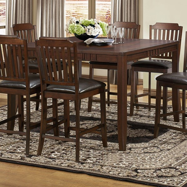 Dickens Transitional Rich Brown Wood Counter Height Table HE-5101-36