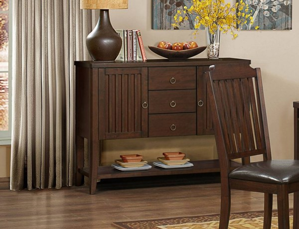 Dickens Transitional Rich Brown Wood Server HE-5101-40