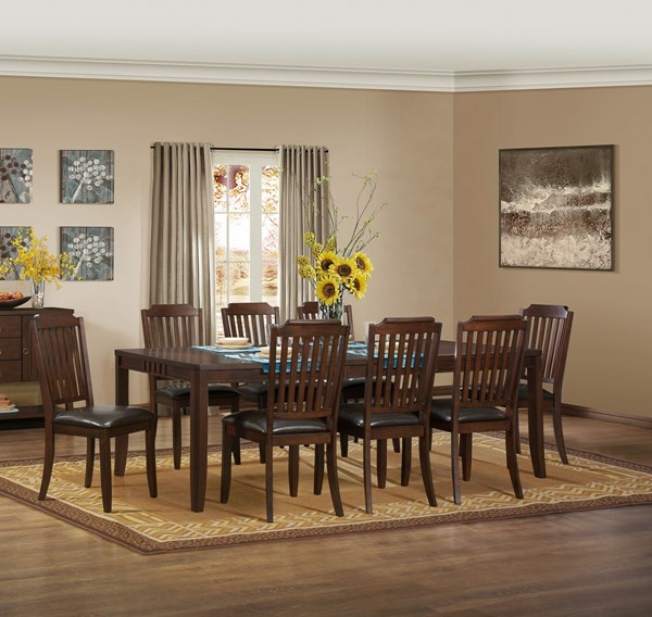 Dickens Transitional Rich Brown Wood Dining Table HE-5101-92