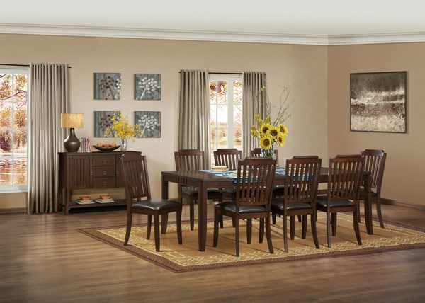 Dickens Transitional Rich Brown Wood Dining Room Set HE-5101-DR