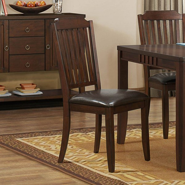 2 Dickens Transitional Rich Brown Wood Side Chairs HE-5101S