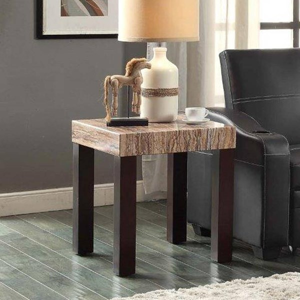 Robins Transitional Dark Cherry Faux Marble Top Wood End Table HE-5105-04