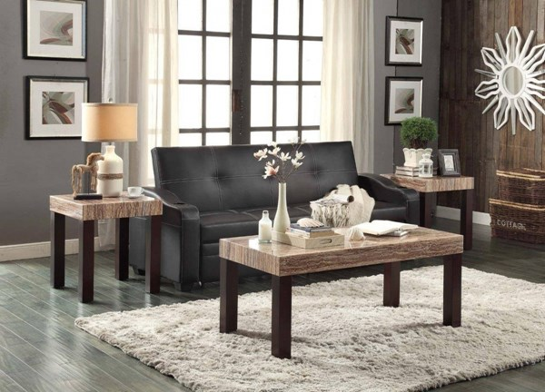 Robins Transitional Cherry Faux Marble Top Wood 3pc Coffee Table Set HE-5105-OCT-S1