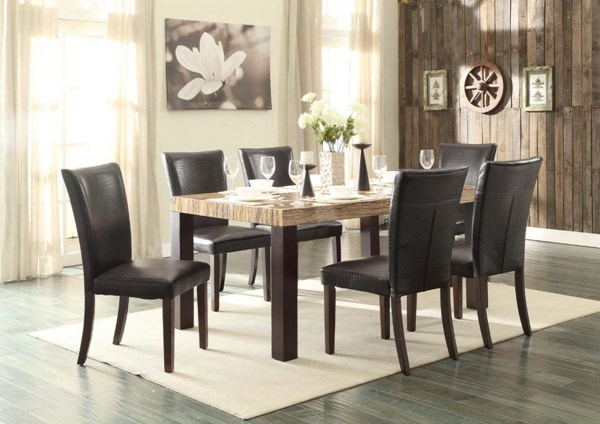 Robins Dark Cherry Brown Wood Vinyl Faux Marble Dining Room Set HE-5105-DR