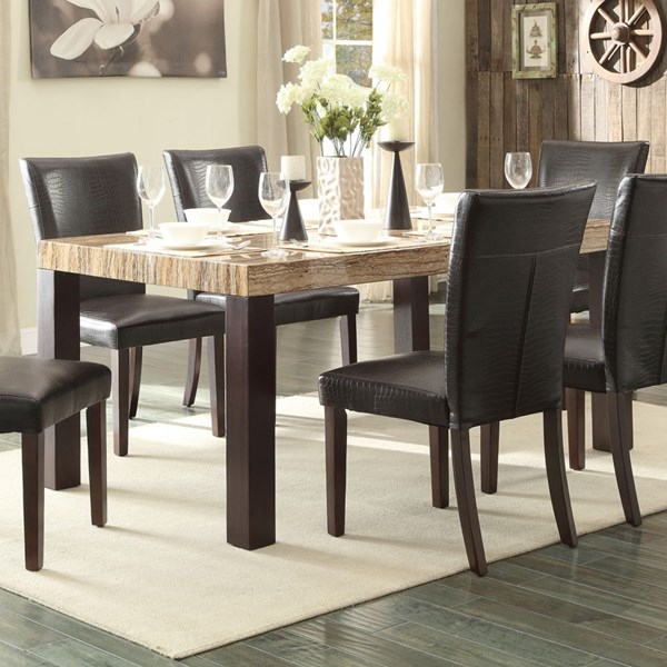 Robins Casual Dark Cherry Brown Wood Faux Marble Top Dining Table HE-5105-66