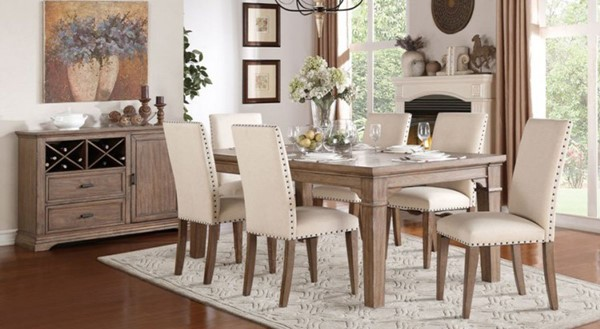 Mill Valley Traditional White Grey Wood Fabric 5pc Dining Room Set HE-5108-DR-S1
