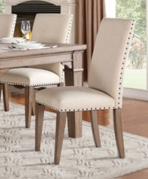 2 Mill Valley Traditional White Grey Wood Fabric Side Chairs HE-5108S
