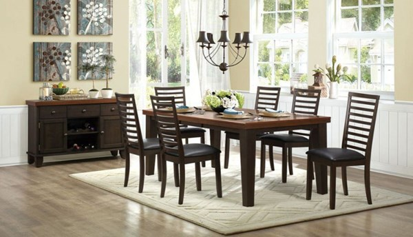 Walsh Casual Walnut Bi Cast Vinyl Seat Wood 7pc Dining Room Set HE-5109-82-DR-S