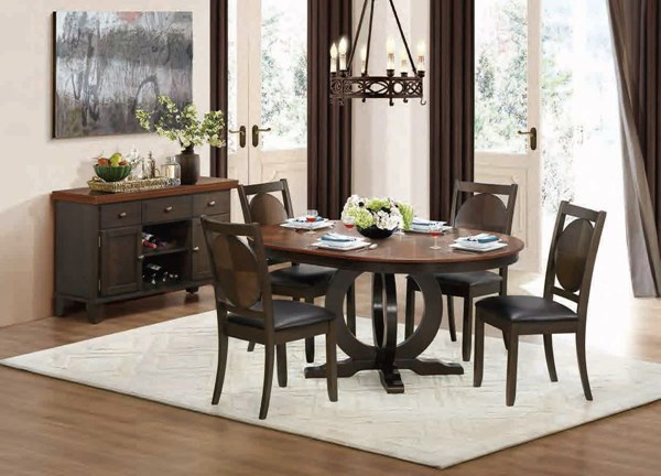 Turing Casual Walnut Wood Round/Oval 5pc Dining Room Set HE-5111-66-DR-S