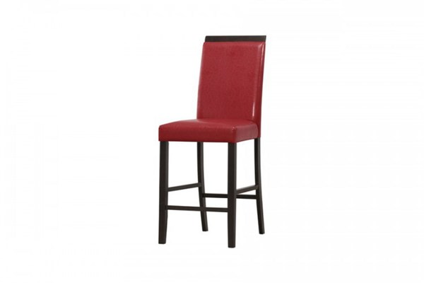 2 Bari Contemporary Red Wood Bi-Cast Vinyl Counter Height Chairs HE-5114RD-24