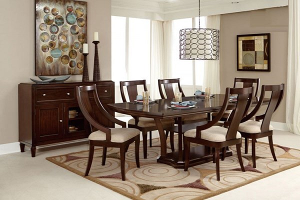 Aubriella Modern Neutral Wood Fabric Dining Room Set HE-5115-DR