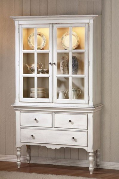 Hollyhock Country Distressed White Wood Glass Buffet And Hutch HE-5123-50