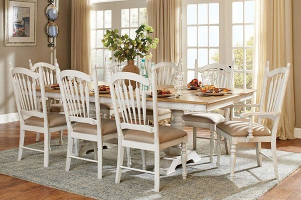 Hollyhock Country Distressed White Wood 9pc Dining Room Set HE-5123-DR-S1
