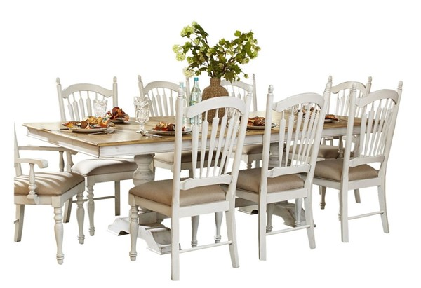 Home Elegance Hollyhock Distressed White Dining Table HE-5123-96