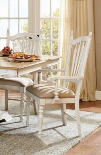 2 Hollyhock Country Distressed White Wood Arm Chairs HE-5123A