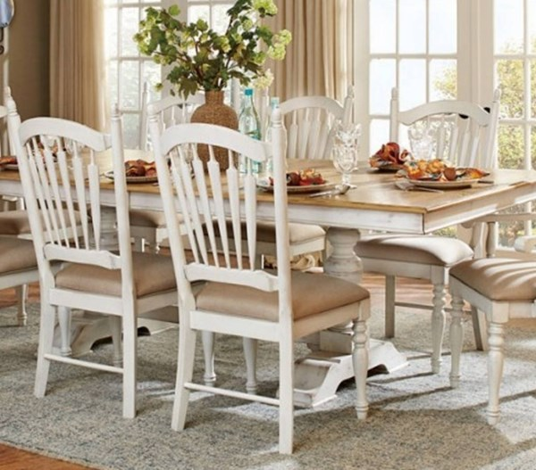 2 Hollyhock Country Distressed White Wood Side Chairs HE-5123S