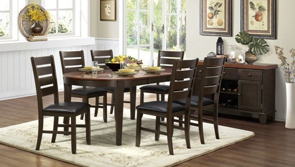 Grunwald Classic Walnut Wood Dining Room Set HE-5127-DR