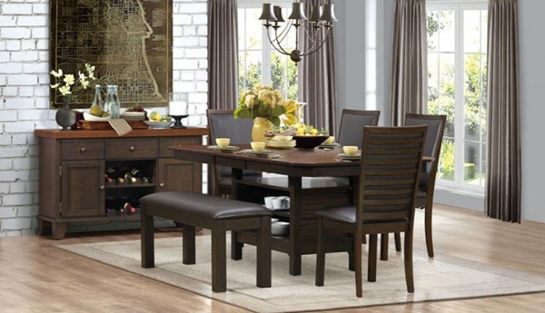 Corliss Casual Dark Brown Wood Bi-Cast Vinyl 6pc Dining Room Set HE-5136-DR-S1