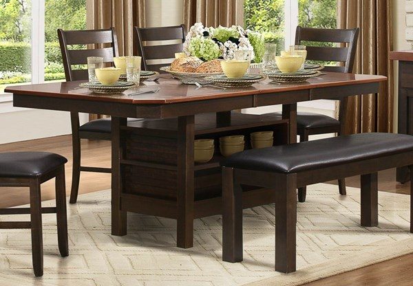 Corliss Casual Walnut Wood Butterfly Leaf Dining Table HE-5136-78