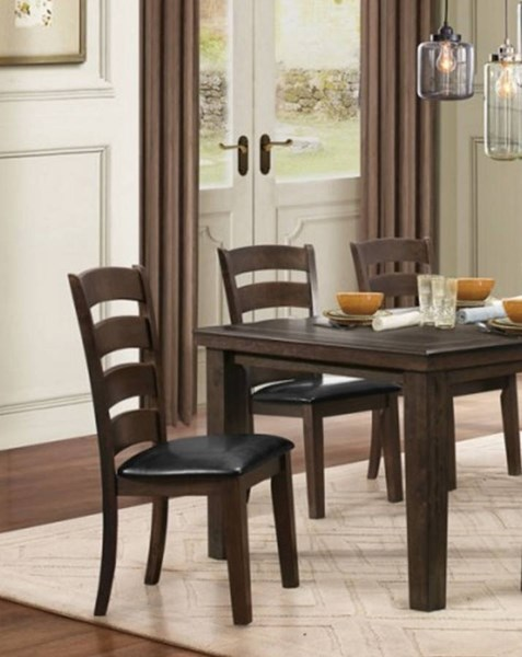 2 Pacific Grove Classic Brown Black Wood Bi Cast Vinyl Side Chairs HE-5141GYS