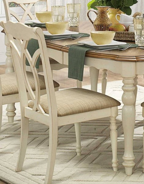 2 Azalea Classic Antique White Wood Side Chairs HE-5145WS