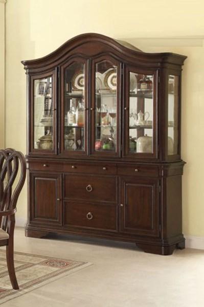 San Anselmo Traditional Cherry Wood Glass Buffet & Hutch HE-5146-50
