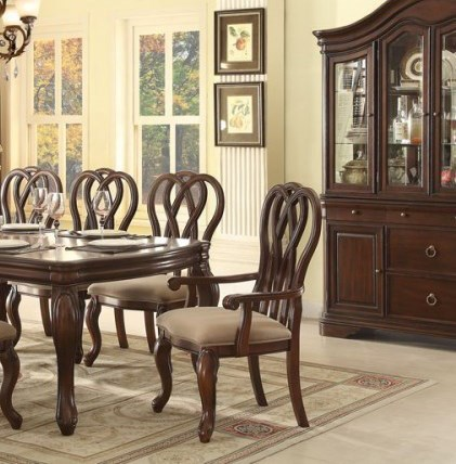 2 San Anselmo Traditional Cherry Wood Arm Chairs HE-5146A