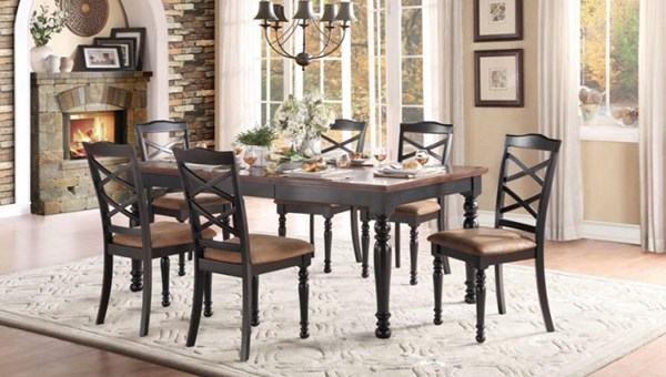 Isleton Classic Black Cherry Wood Fabric 7pc Dining Room Set HE-5147-DR-S1