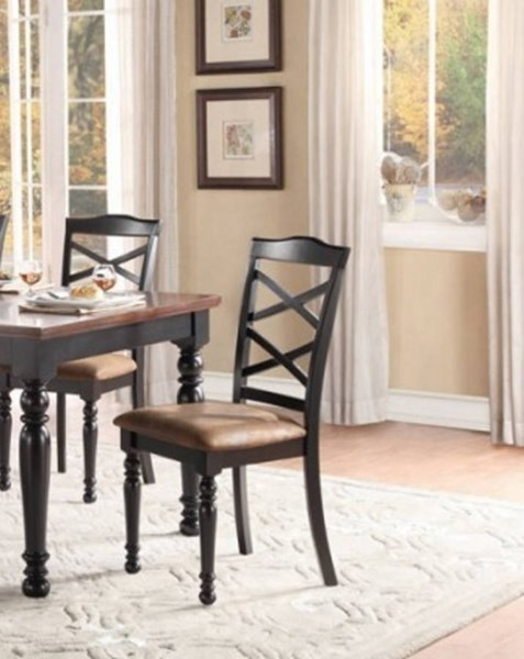 2 Isleton Classic Black Brown Wood Fabric Side Chairs HE-5147BKS