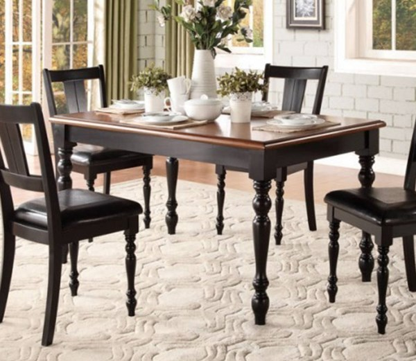 Laurel Grove Traditional Black Cherry Wood Dining Table HE-5148BK