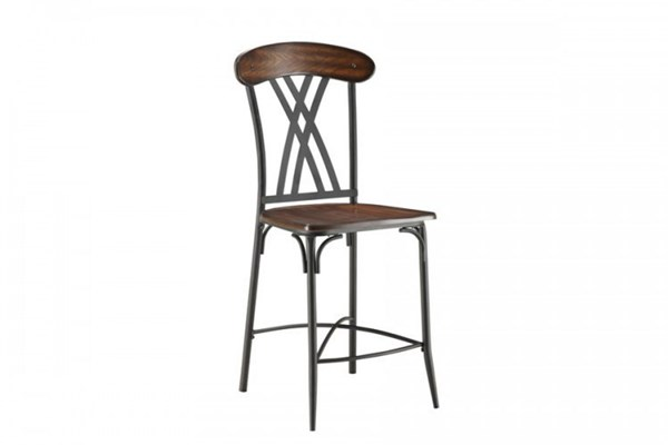 4 Loyalton Traditional Black Wood Metal Counter Height Chairs HE-5149-24