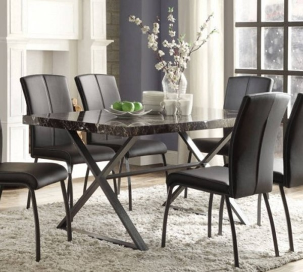 Rancho Portola Contemporary Black Faux Marble Metal Dining Table HE-5155