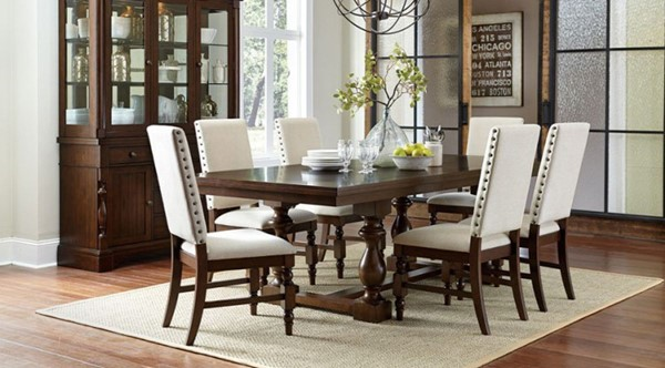 Yates Country Dark Oak Wood 7pc Dining Room Set HE-5167-96-DR-S