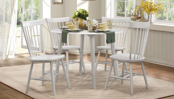 April Cottage White Wood 5pc Dining Room Set HE-5168-DR-S1