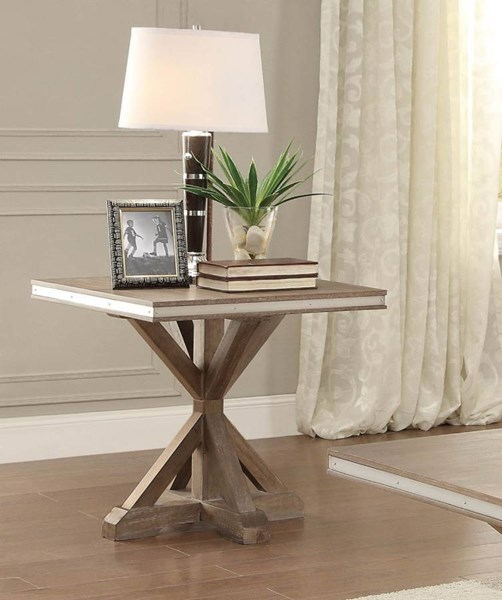 Beaugrand Contemporary Wood Metal Square End Table HE-5177-04