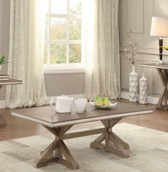 Beaugrand Contemporary Wood Metal Cocktail Table HE-5177-30