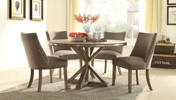 Beaugrand Grey Brown Wood Fabric 5pc Dining Room Set w/Round Table HE-5177-DR-S2