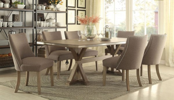 Beaugrand Contemporary Neutral Grey Brown Wood Fabric Dining Room Set HE-5177-DR