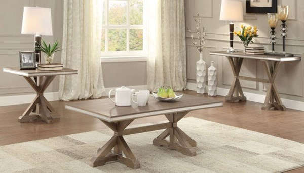 Beaugrand Contemporary Wood Metal Coffee Table Set HE-5177-OCT