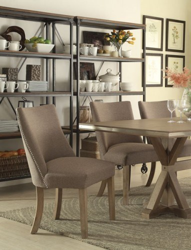 2 Beaugrand Contemporary Neutral Grey Brown Wood Fabric Side Chairs HE-5177S