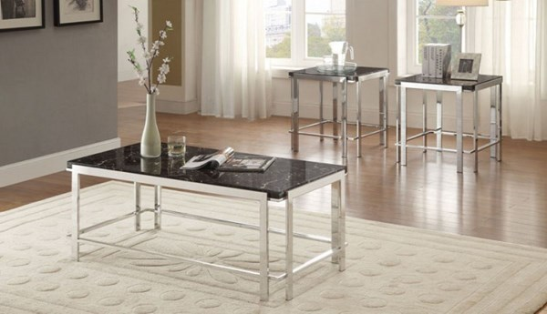 Watt Contemporary Metal Faux Marble Top 3 in 1 Pack Occasional Table HE-5178-31