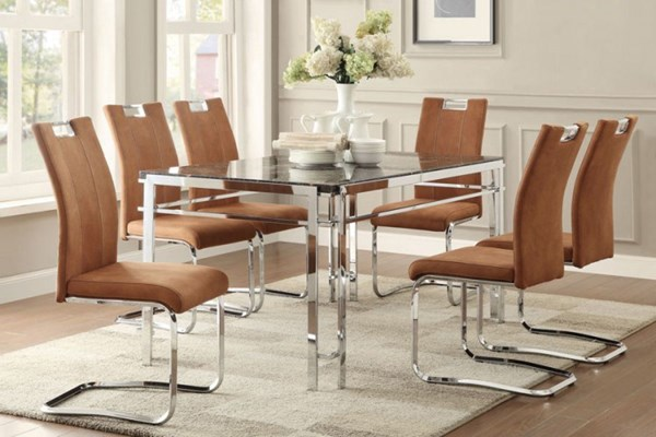 Watt Contemporary Dark Grey Chrome Faux Marble Metal Dining Room Set HE-5178-60-DR