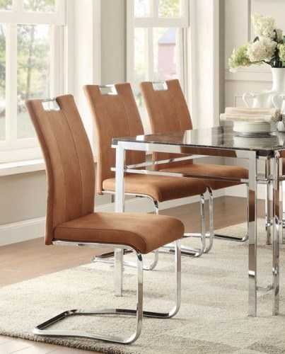 2 Watt Contemporary Camel Brown Chrome Fabric Metal Side Chairs HE-5178BRS